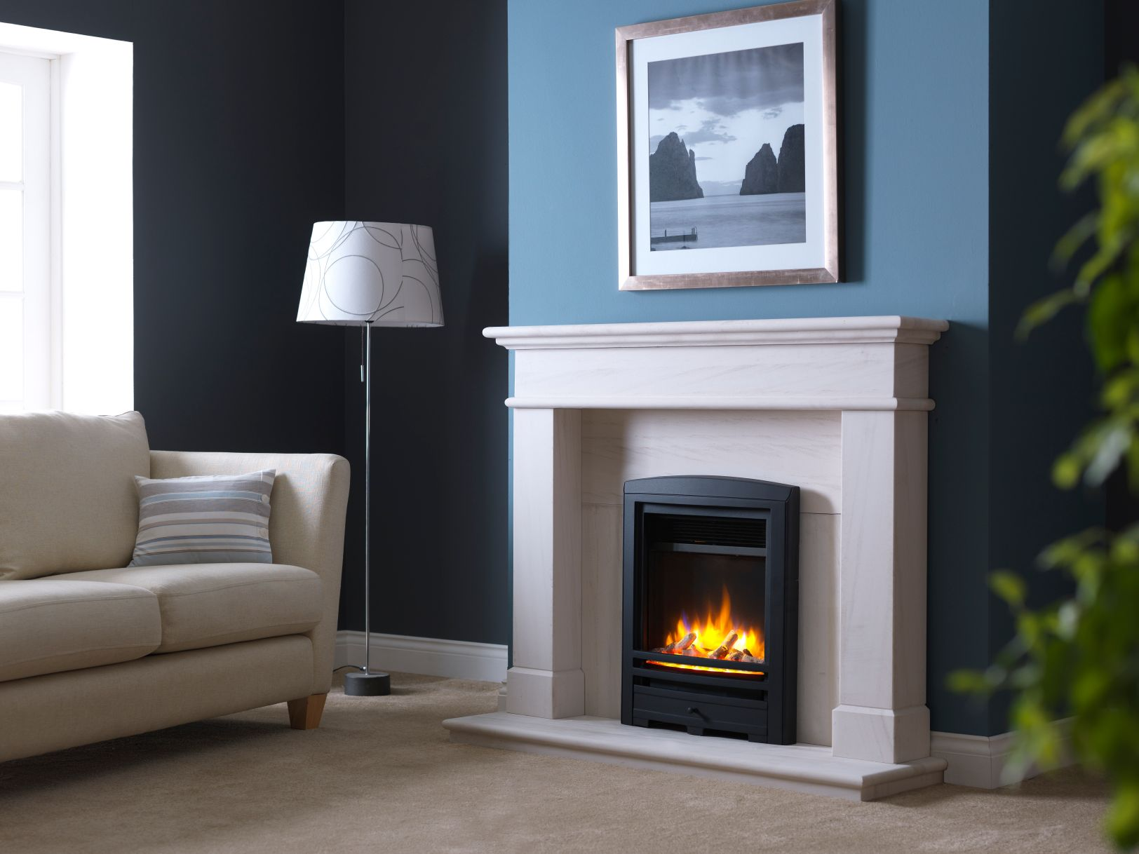 3D Ecoflame Electric Fire with Cast Iron Frame in Balmoral Fireplace Suite