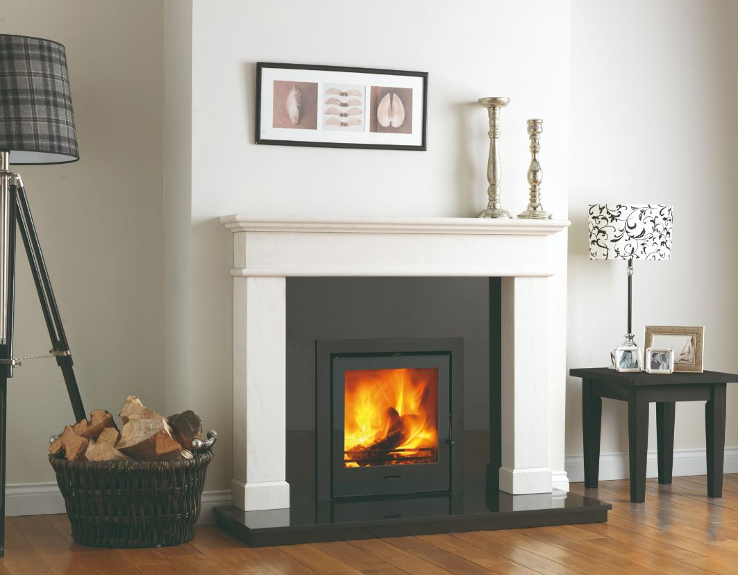 Balmoral Limestone Fireplace Mantel with Granite Backpanel and Granite Hearth