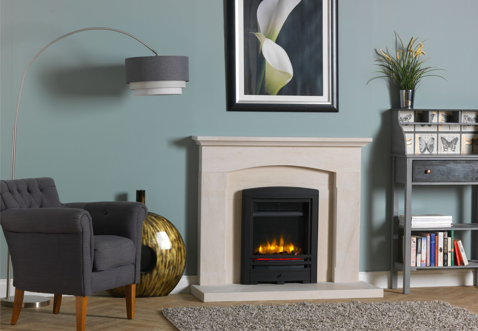 4D Ecoflame Electric Fire with Cast Front in Electric Surround