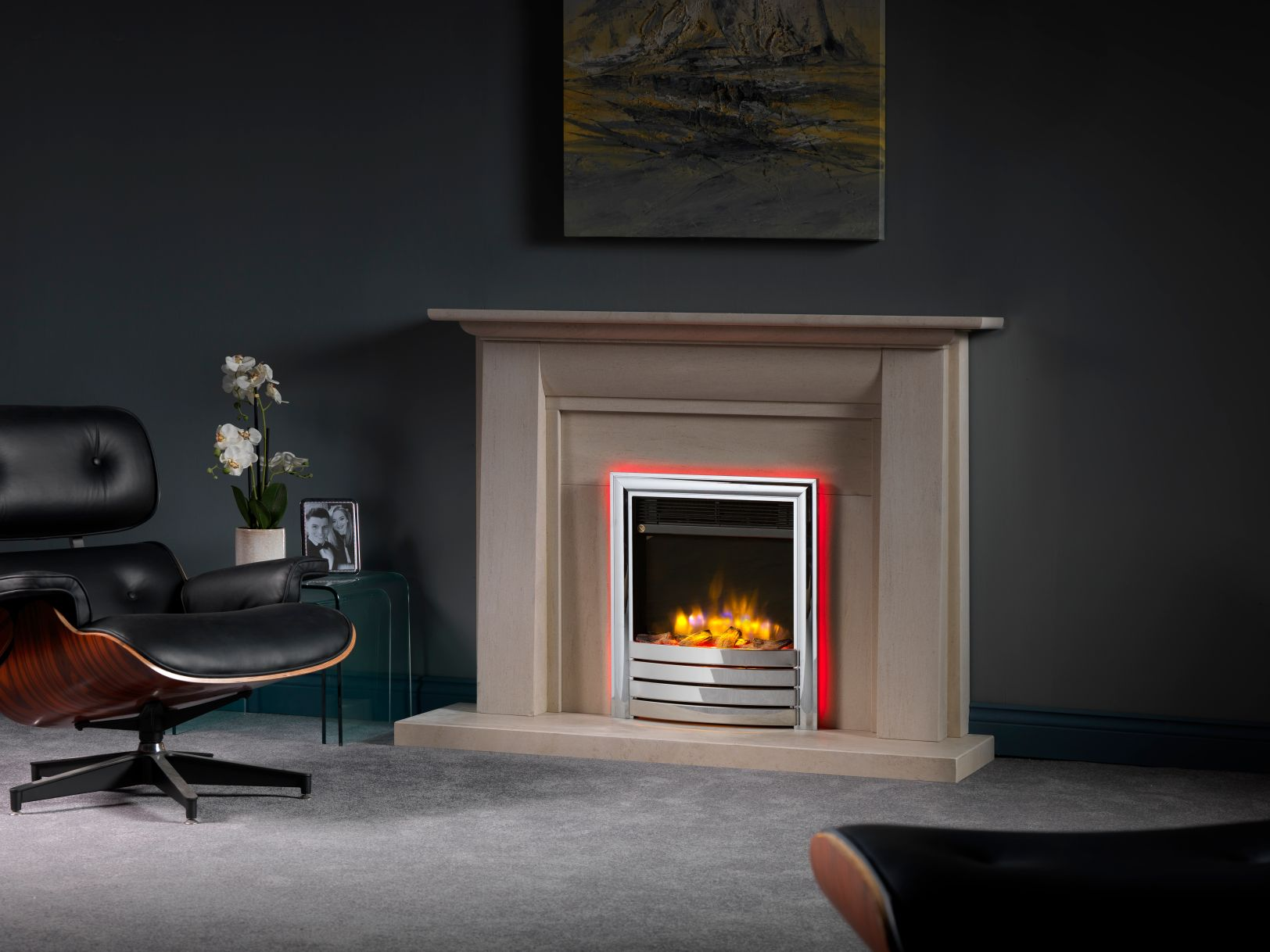 4D Ecoflame Electric Fire in Stokesay Electric Fireplace Suite with Lights