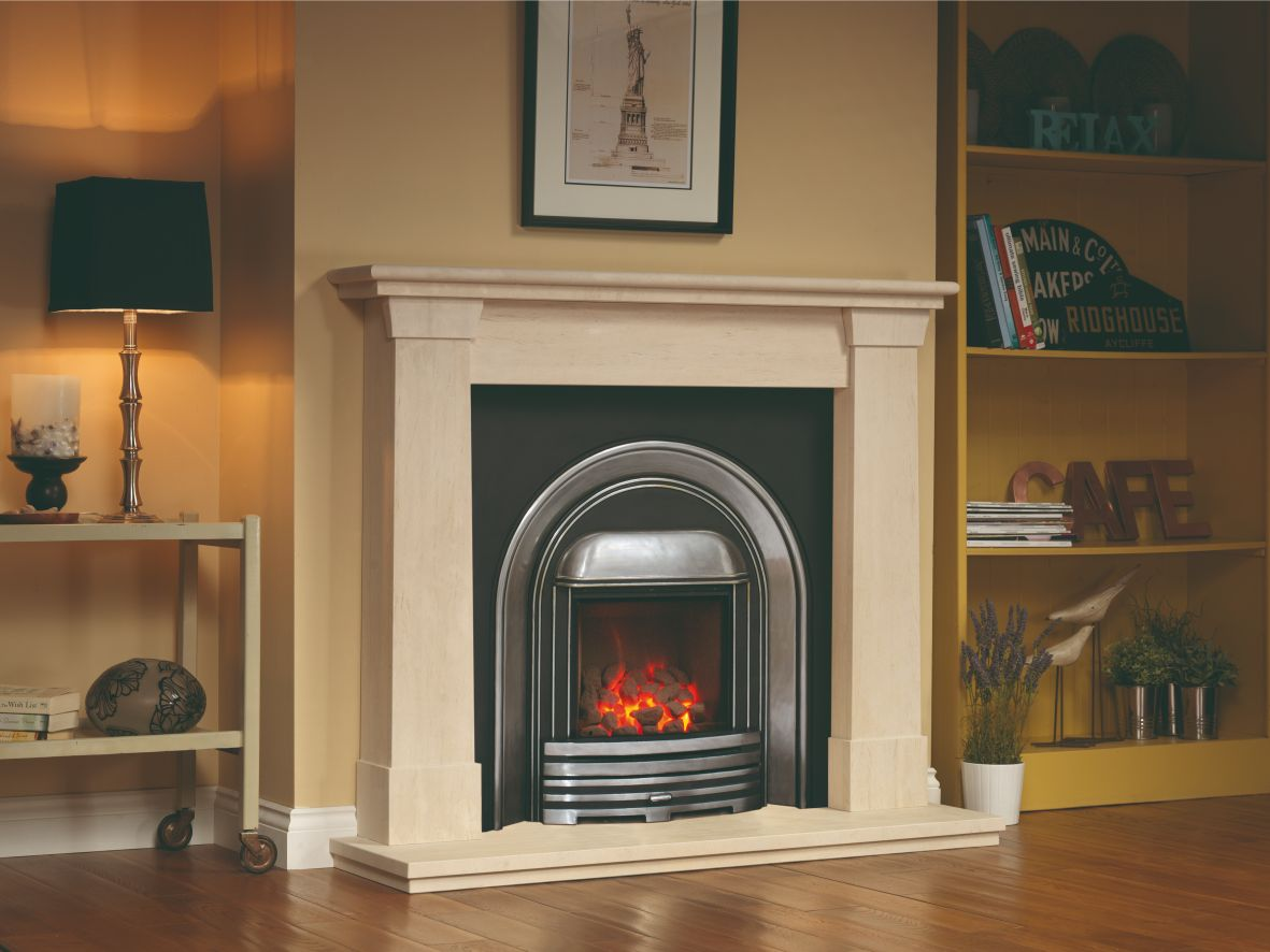 Cast Oslo Limestone Fireplace with Cast Iron Surround