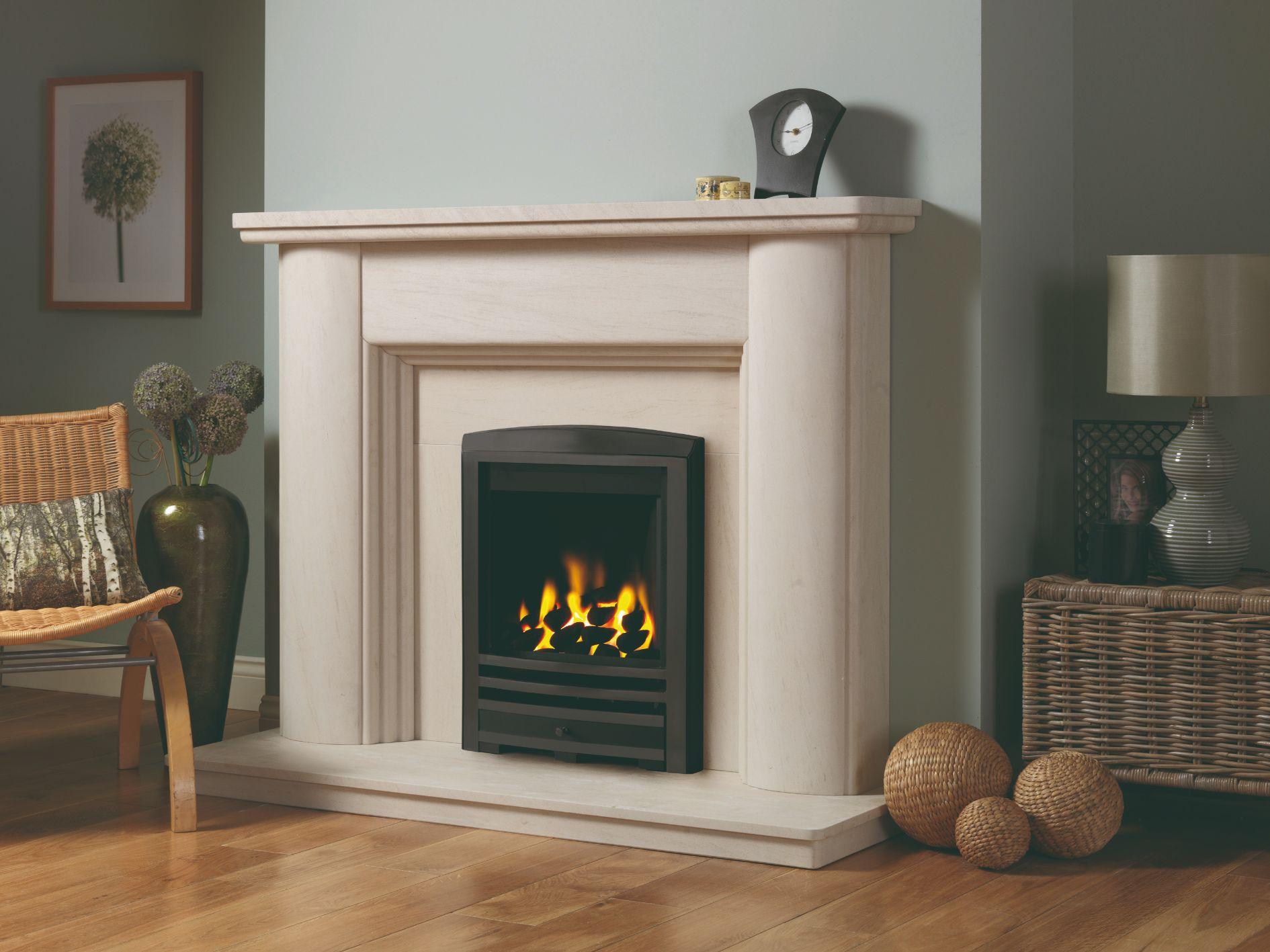 Faro Limestone Fireplace Mantel Suite