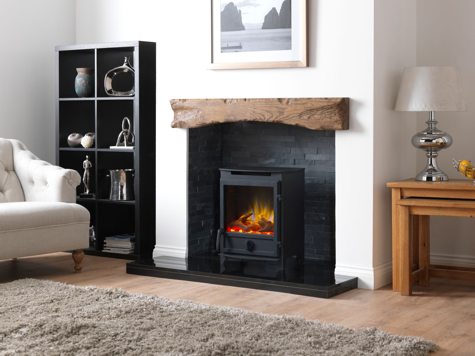 Fireline Electric Stove, Electric Log Burner, in Inglenook with Oak Beam