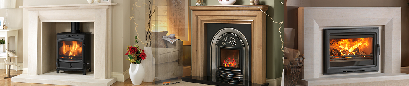 Log burner stove fireplace, limestone, gas fire in wood mantel, wide log burner in surround