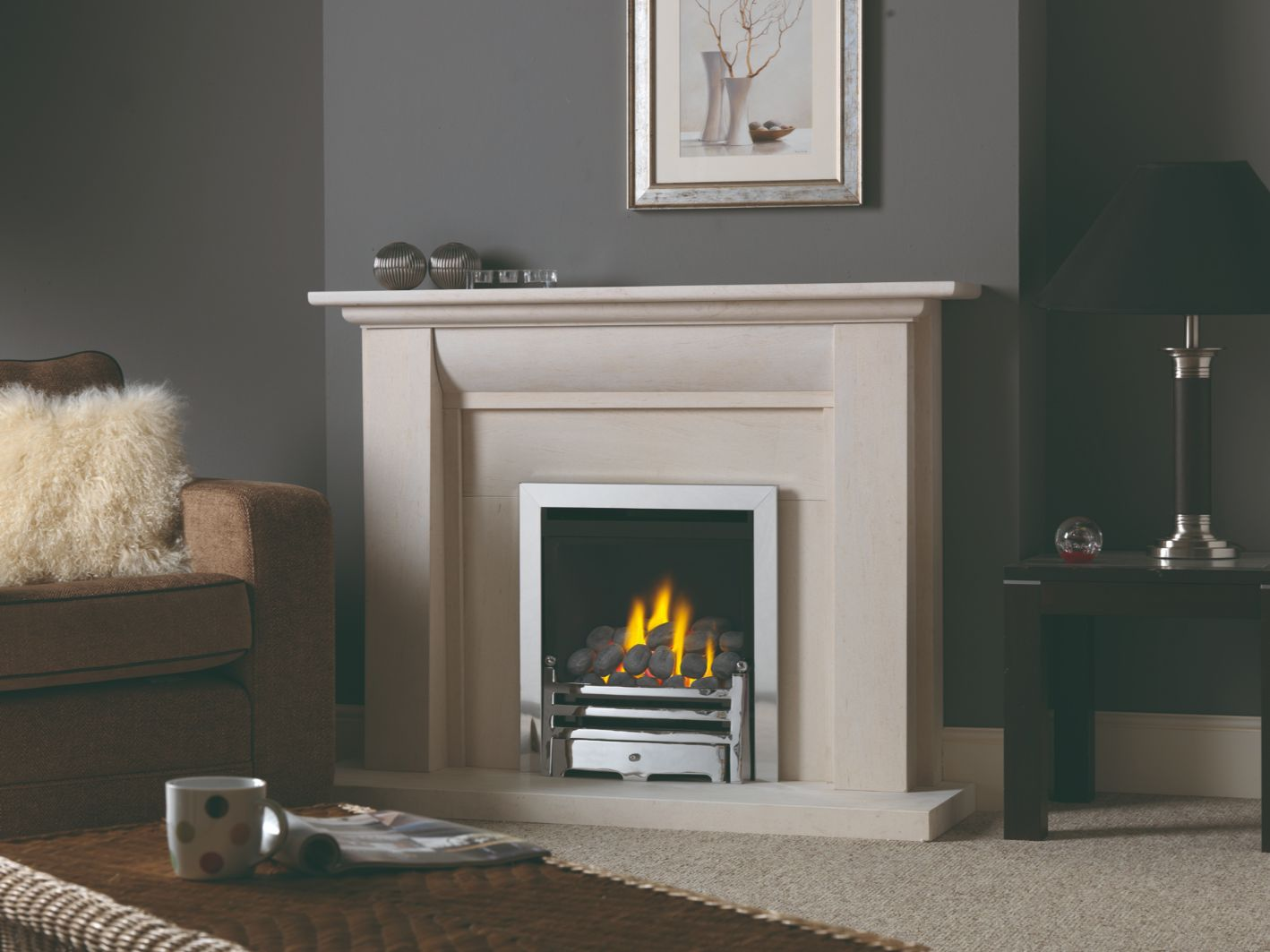 Focus High Efficiency Gas Fire in Portuguese Limestone Gas Fireplace Surround