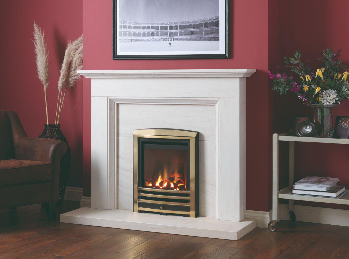 Focus High Efficiency Gas Fire, Coal Fire, Brass Trim