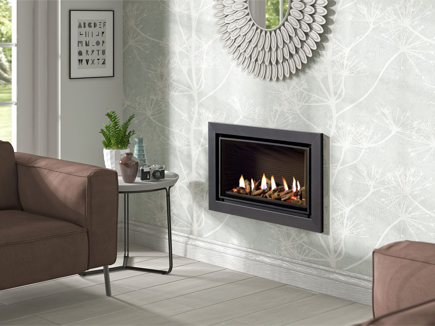 Infinity 600 Balance Flue Gas Fire, Hole in the Wall Gas Fire with Graphite Trim