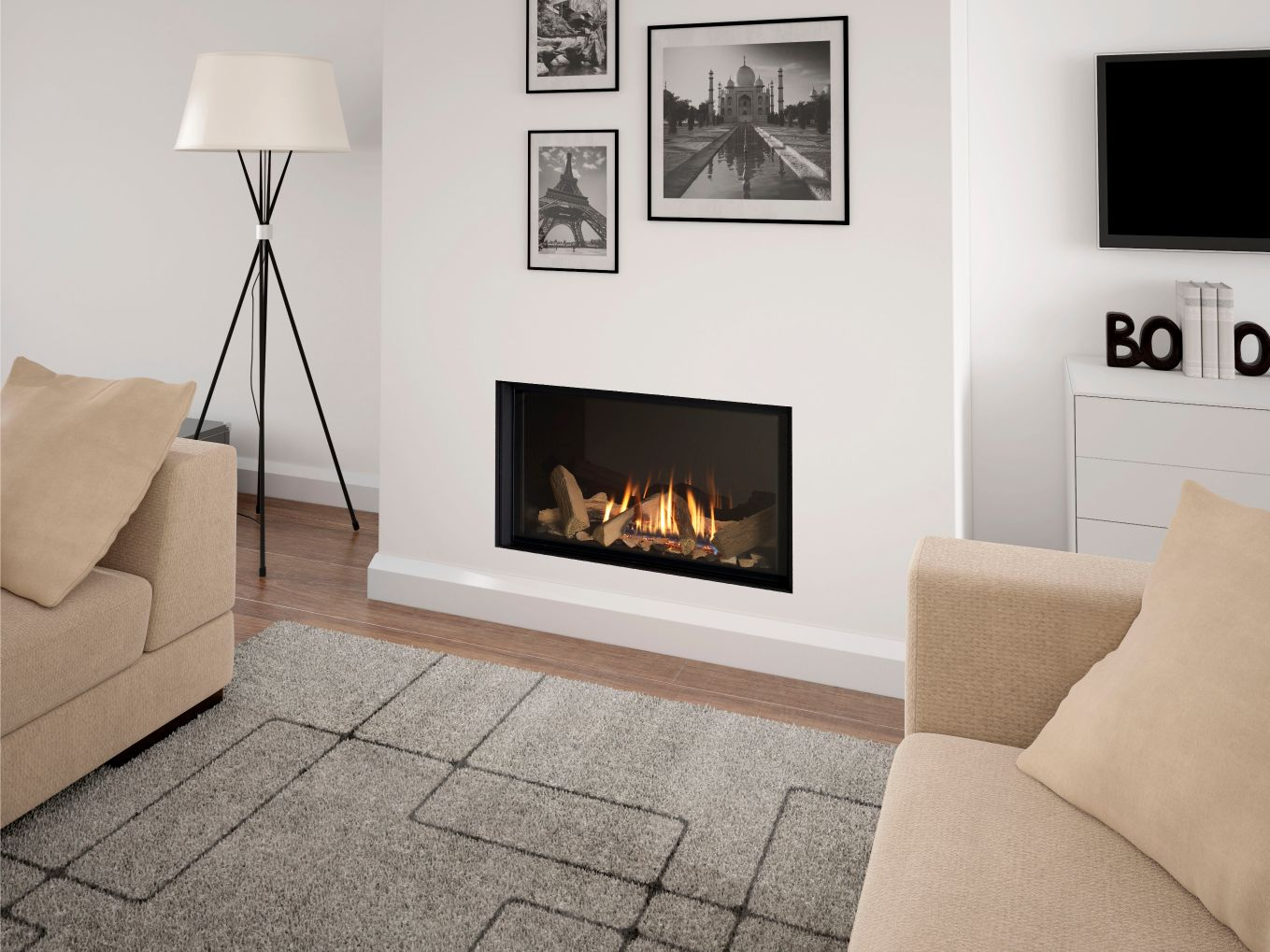 Infinity 780 Frameless Gas Fire, Edgeless Hole in the Wall Gas Fire