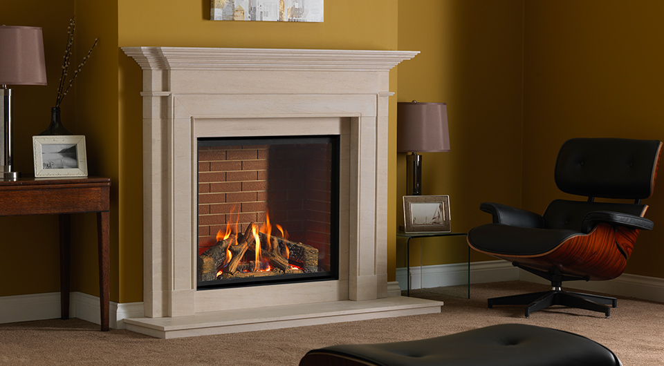 Infinity Gas Fire in Limestone Gas Fireplace Surround