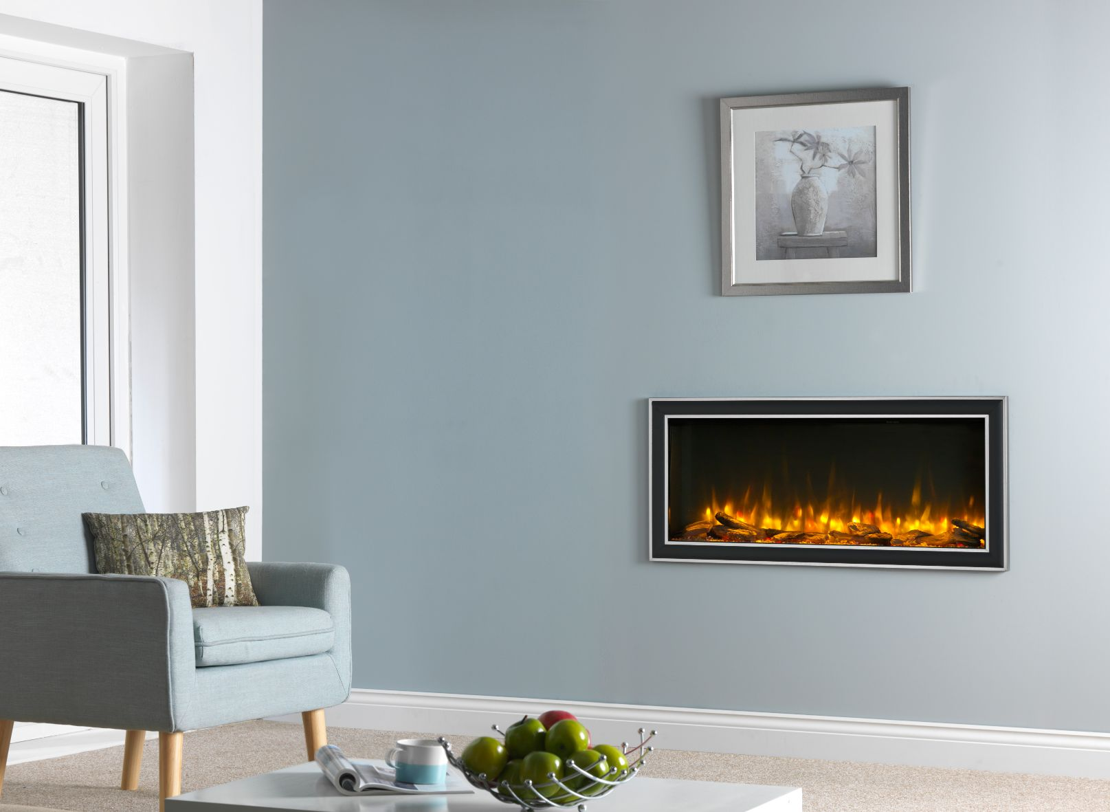 Infinity 890 Inset Hole in the Wall Electric Fire with Chrome Trim
