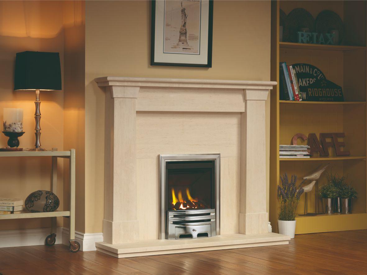 Oslo Limestone Fireplace Mantel
