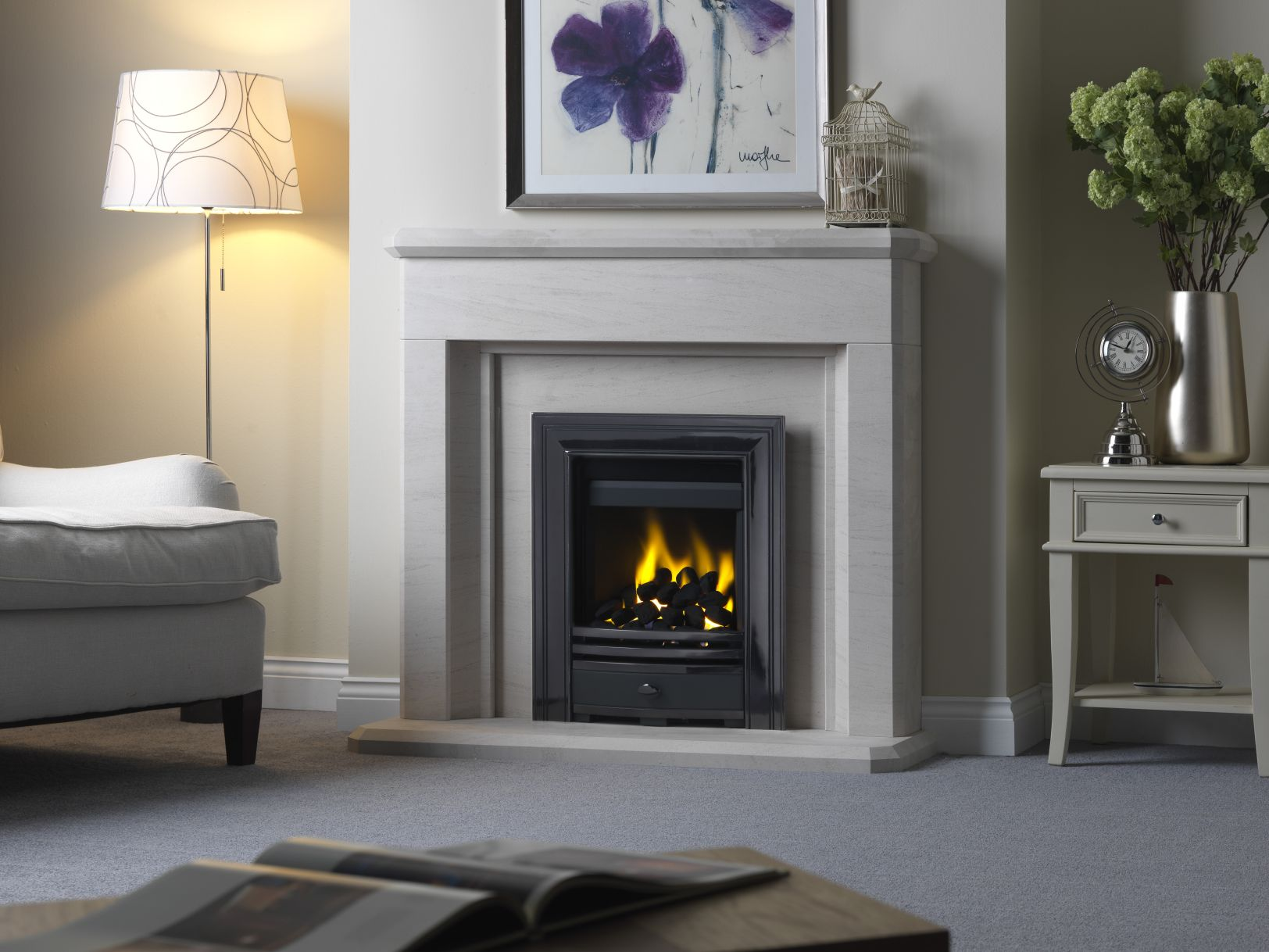 Paragon Inset Gas Fire with Cast Front, in Limestone Fireplace