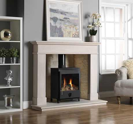 Gas Stove Fire in Limestone Fireplace