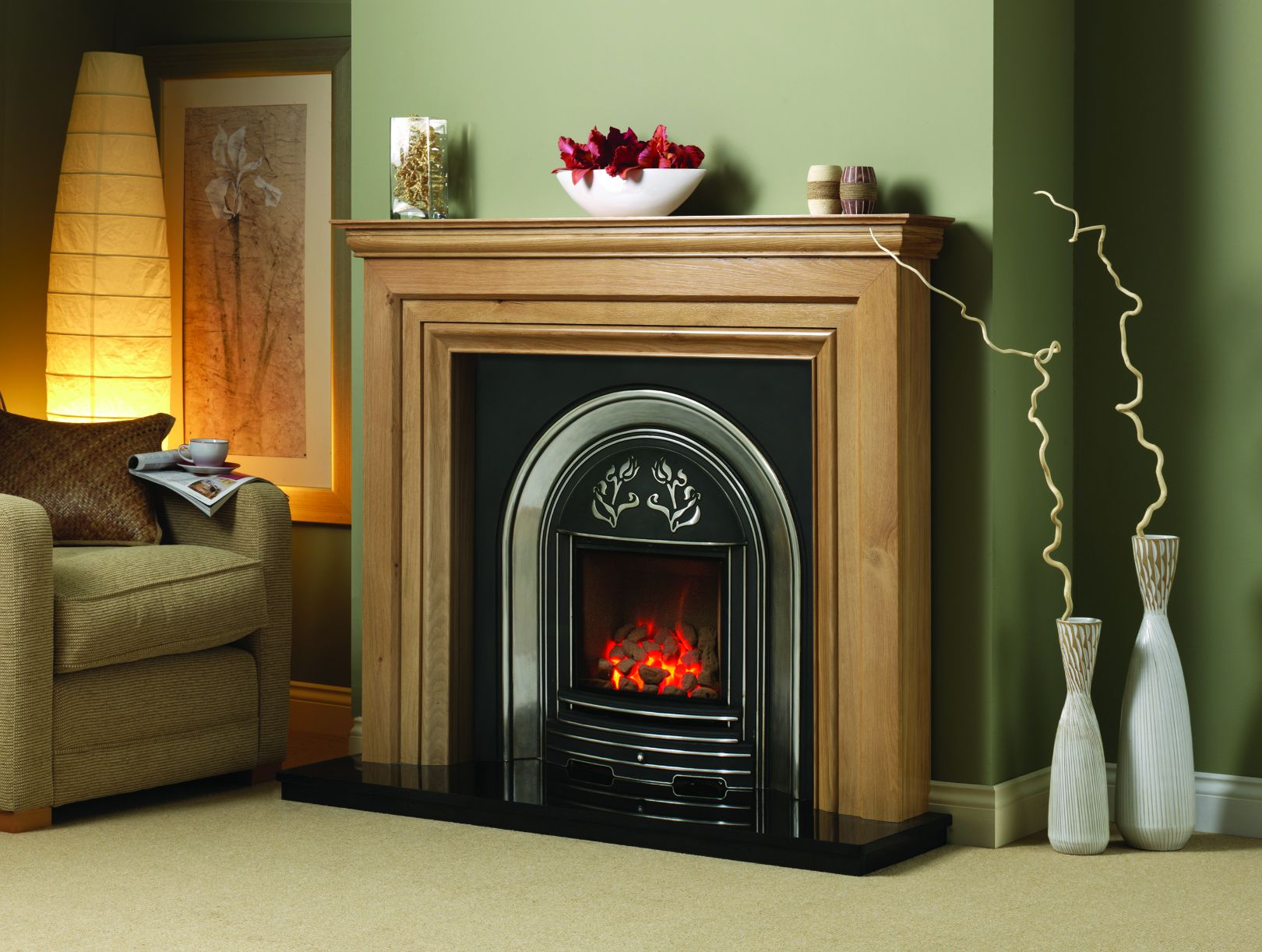 Wooden Mantel with Cast Surround and Granite Hearth, Fireplace Suite