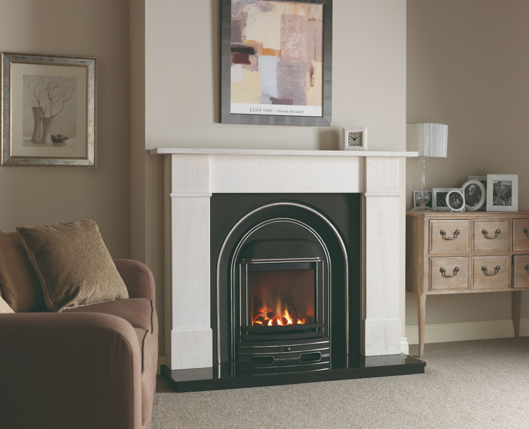 Mafra Limestone Fireplace with Cast Arch Fire and Granite Hearth