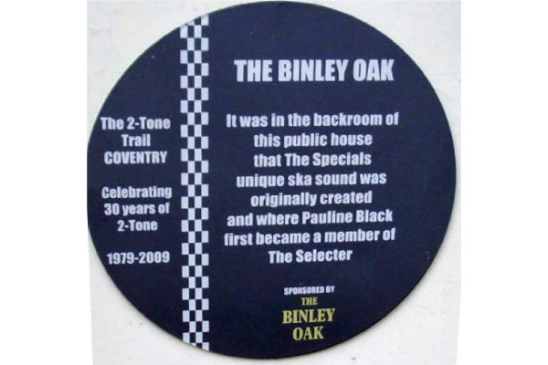 The Binley Oak The Specials and The Selecter Plaque
