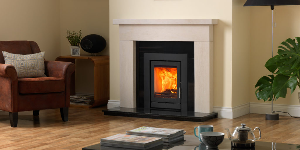 Inset Wood Burning Stove with Sectioned Granite Hearth and Backpanel