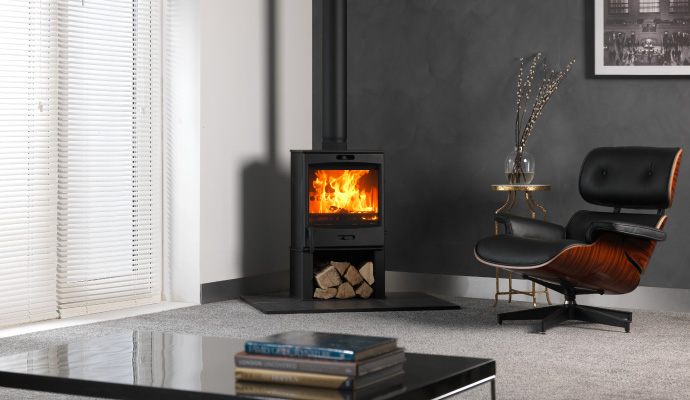 Freestanding Wood Burning Stove With Twin Wall Flue System