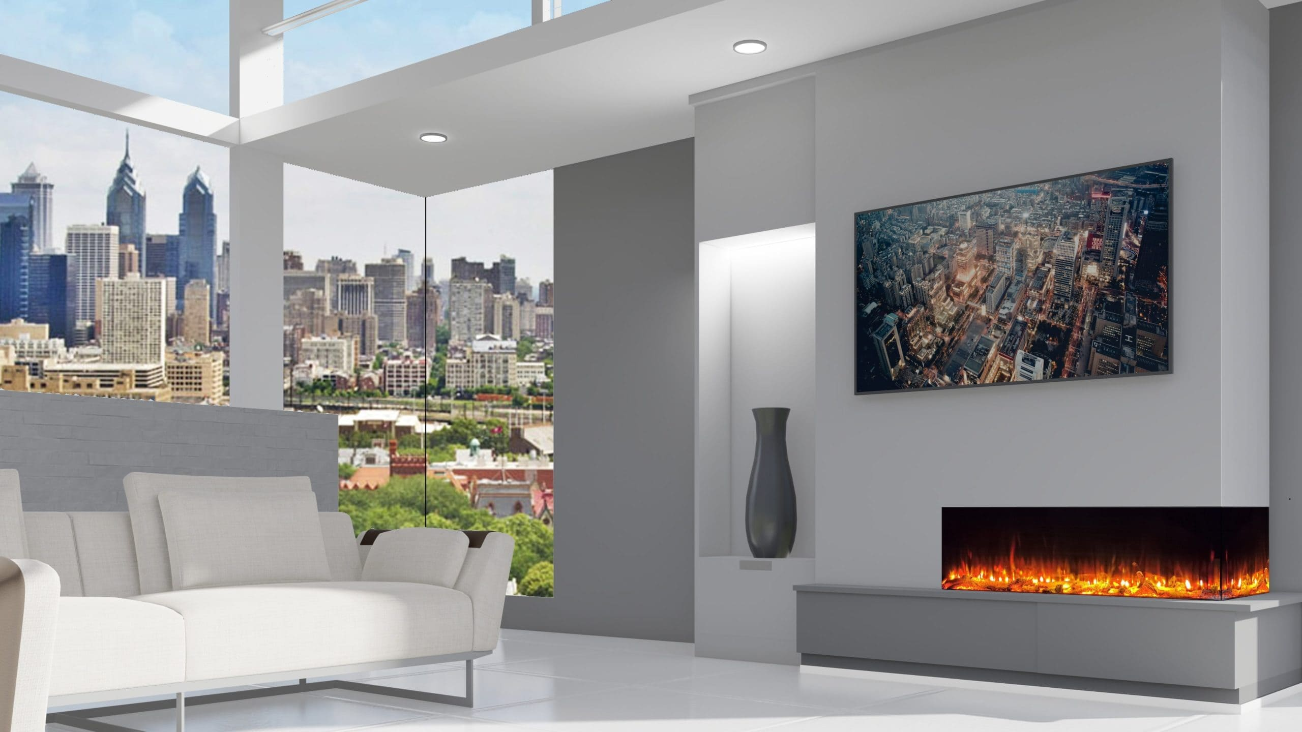 AdvancedFires Panoramic 2Sided AF Electric Hole in the Wall Fire