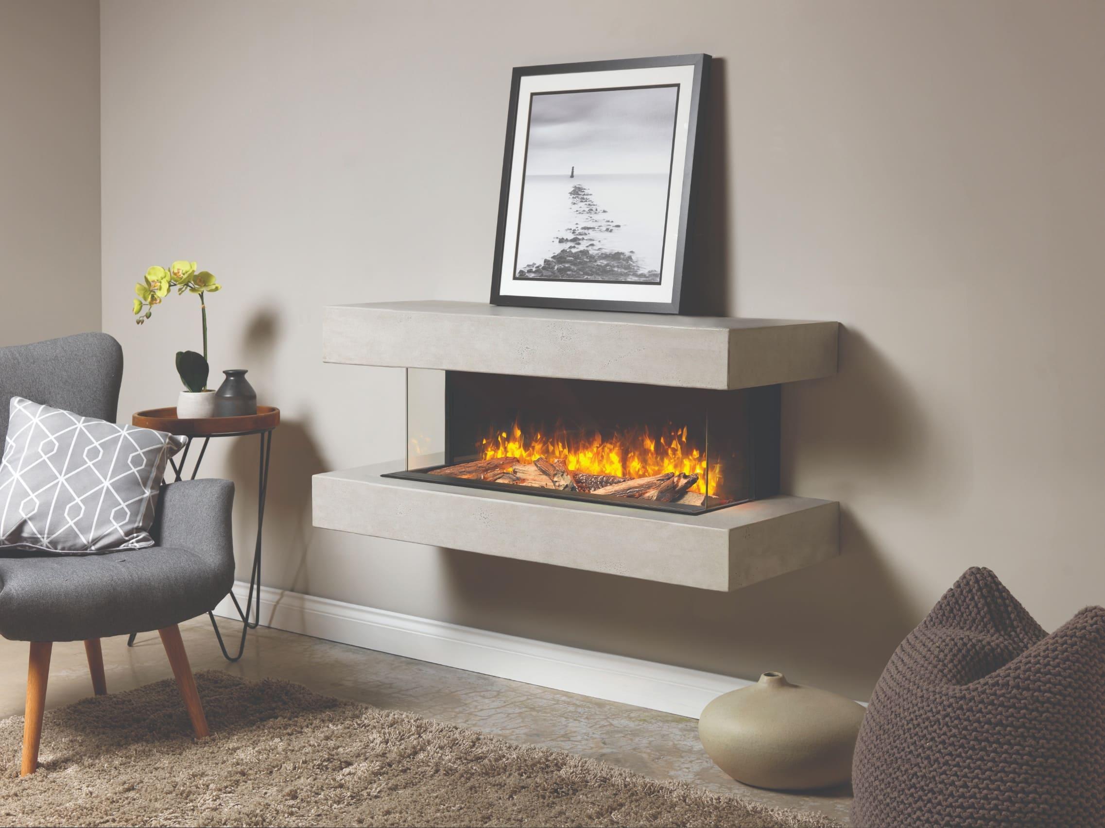 Brandon Electric Fire Suite - Premium Vintage Concrete Effect Wall-Mounted