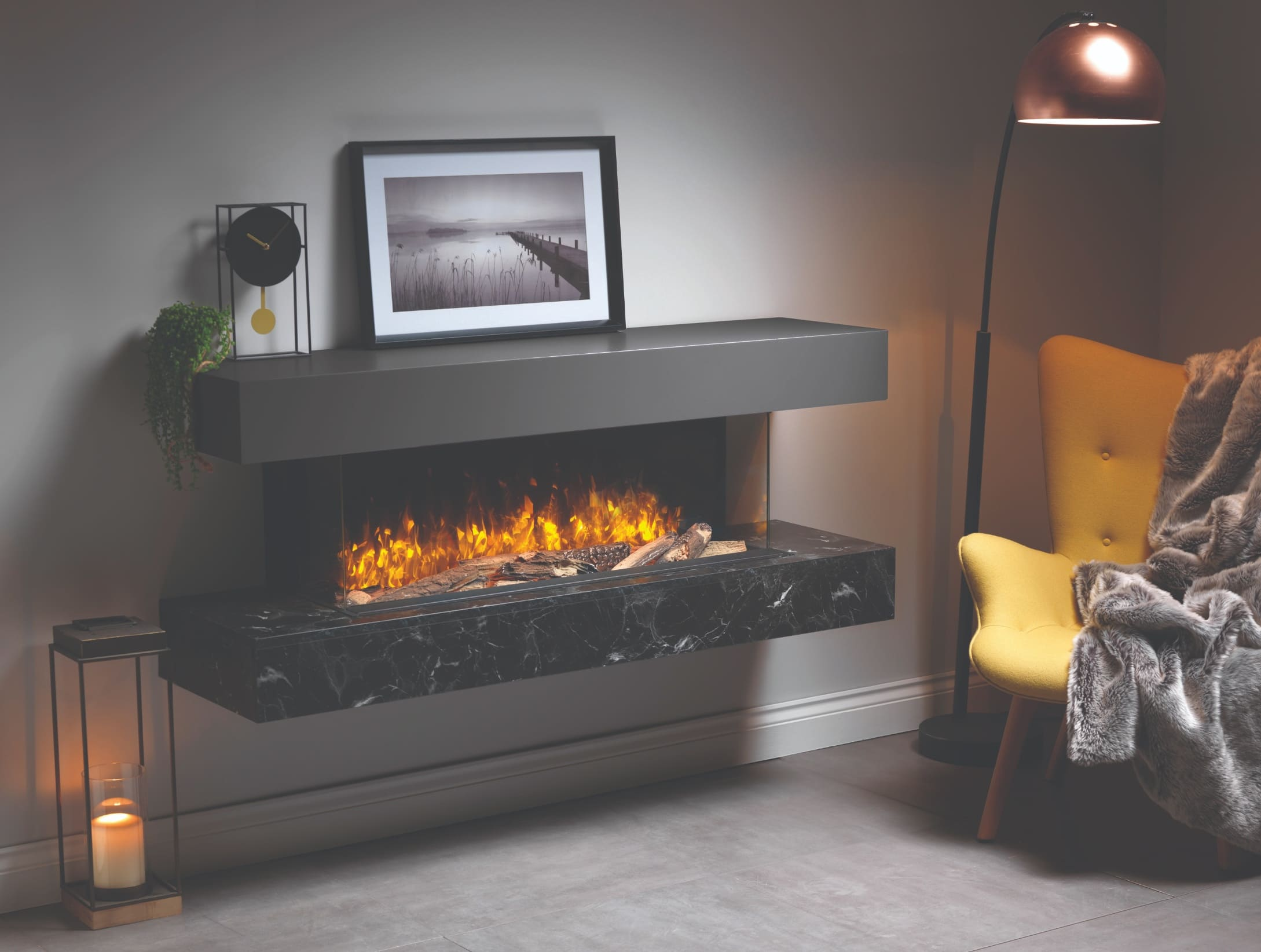 Brandon Electric Fire Wall-Mounted Suite - Premium Marble Effect