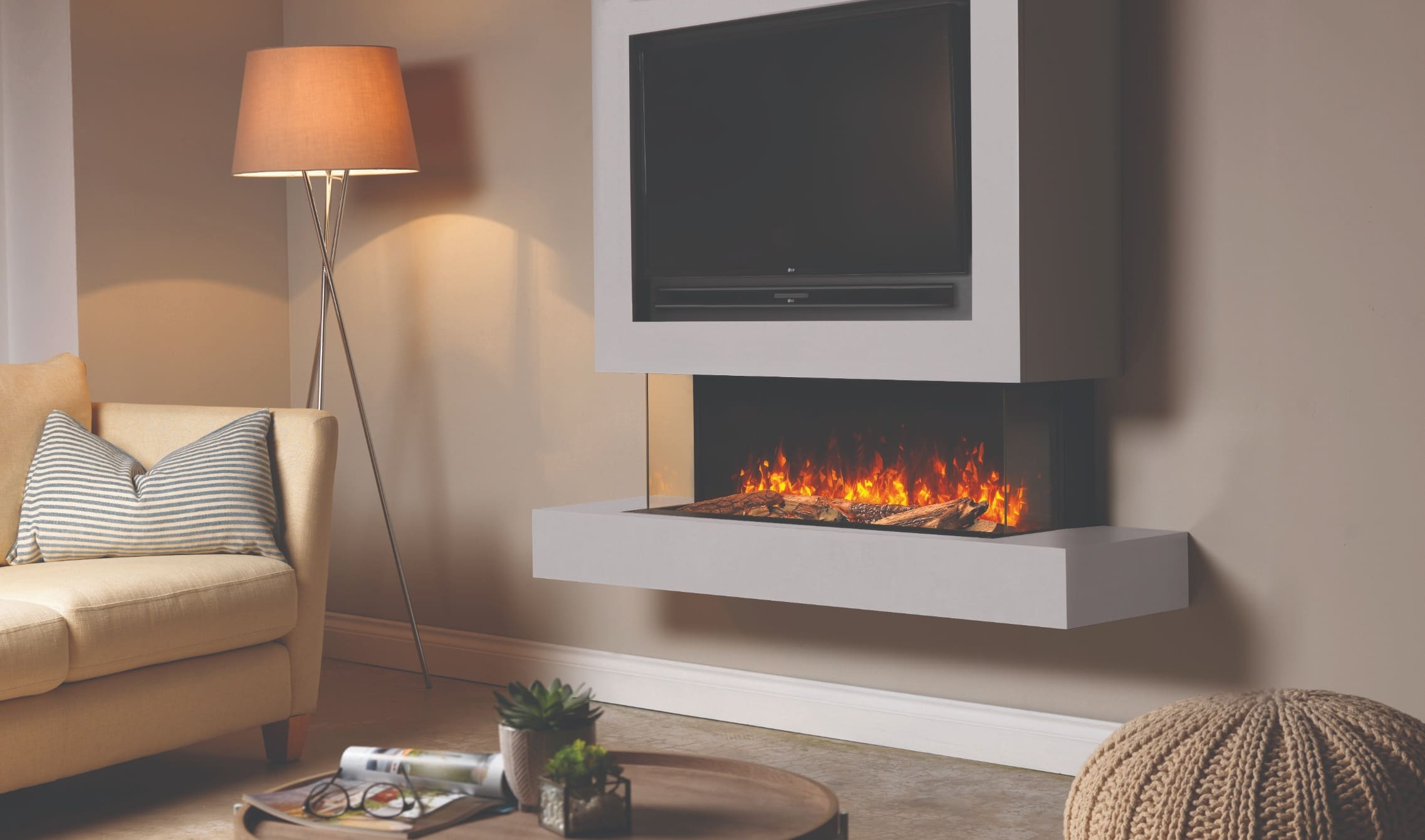 Brandon Suite with Chimney & TV Cut Out - Misty Grey Electric Media Wall