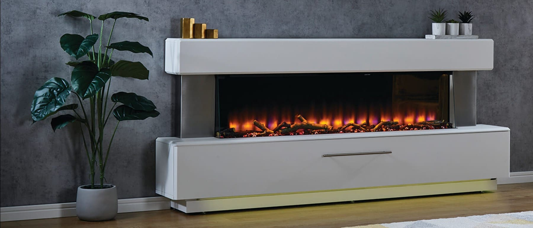 Italia Luminess Smooth White Electric Fireplace Suite