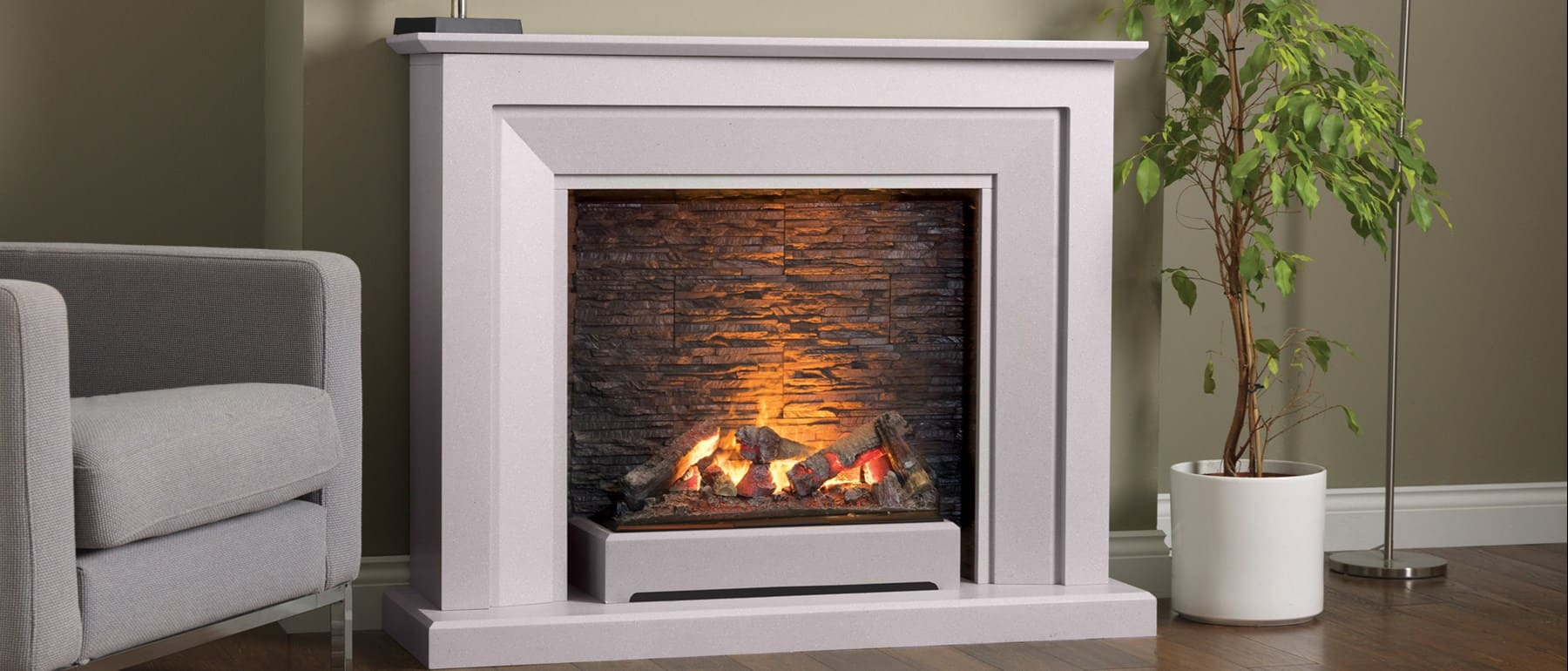 Italia Napoli Opti-myst Fireplace Electric Suite Grey Slate Effect