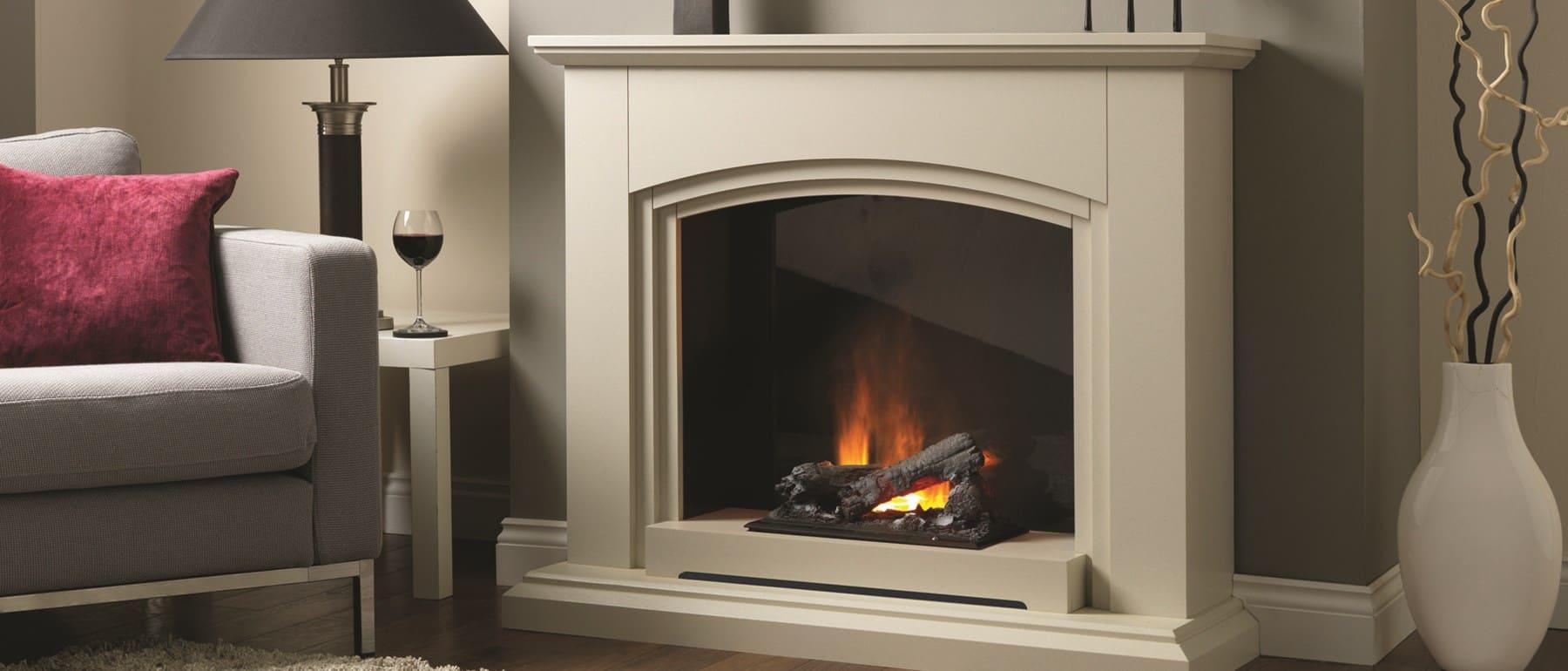 Italia Siena Optimyst Electric Fireplace Suite Sandstone Effect
