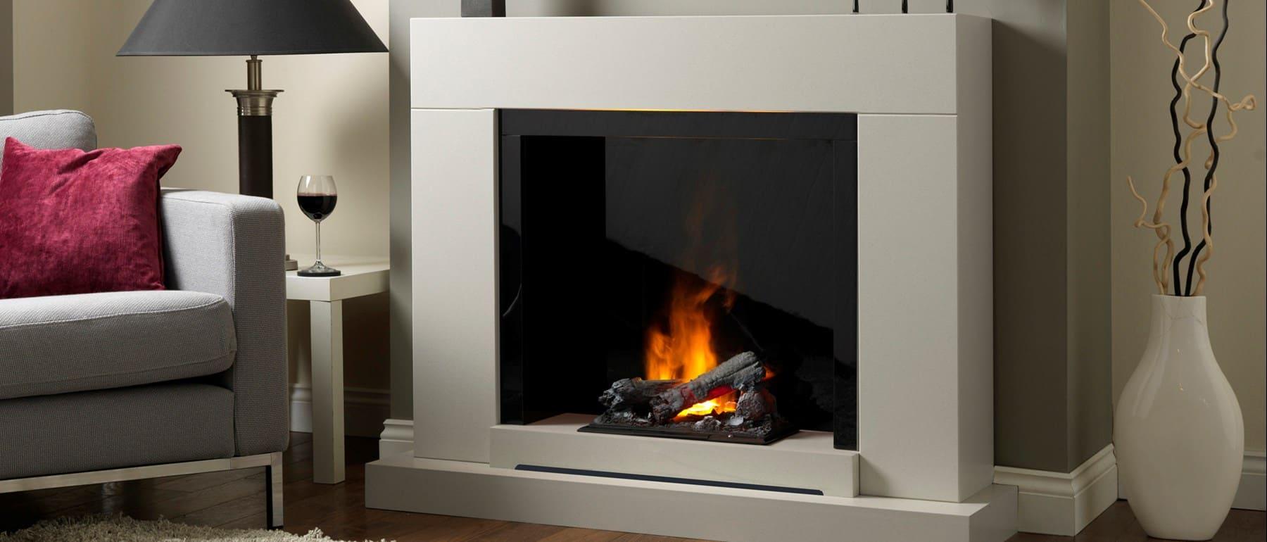 Italia Verona Optimyst Electric Fireplace Suite Smooth White