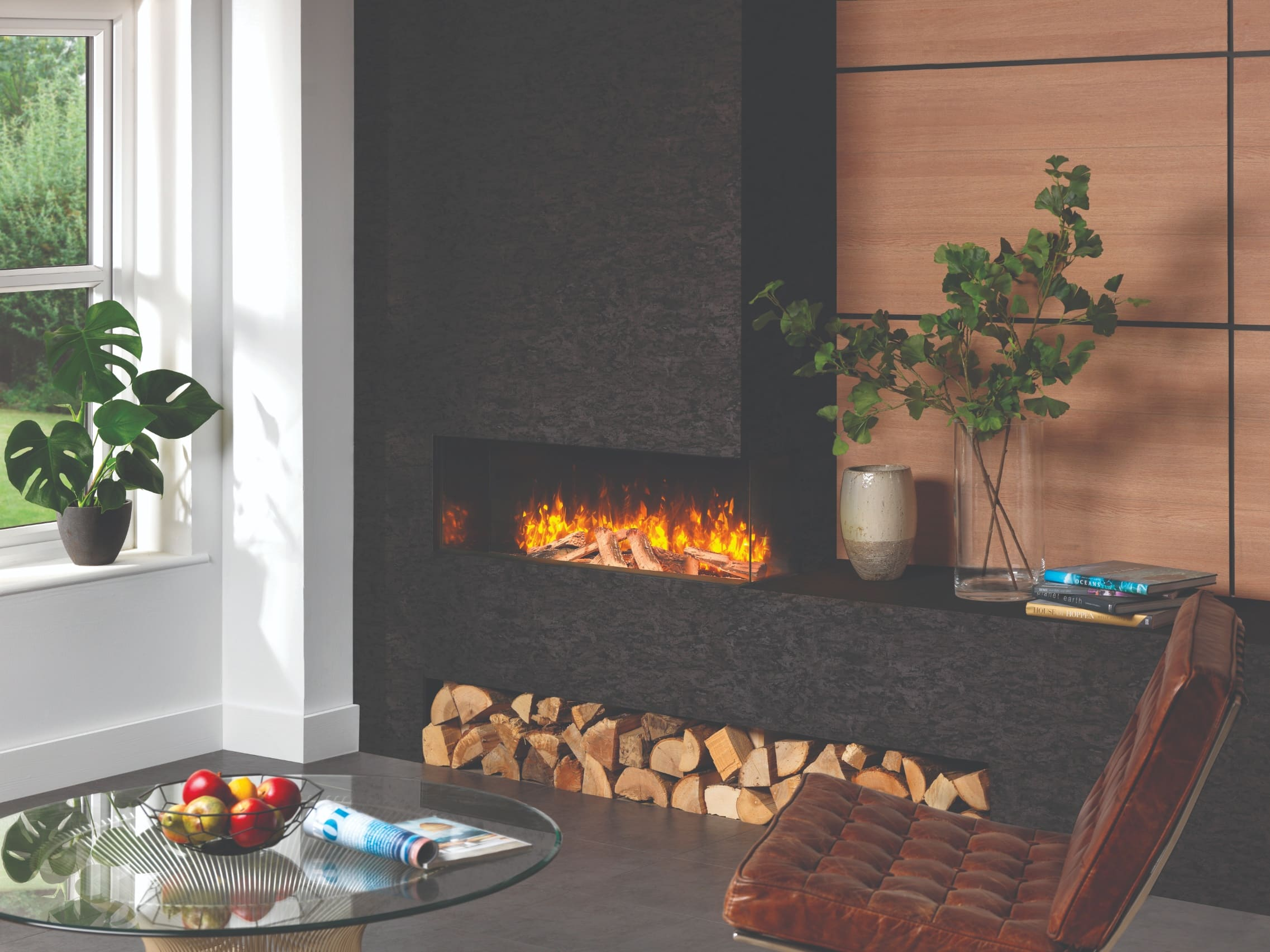 SLE100 Deep Electric Fire, Two-Sided Corner, Electric Log Fire effect