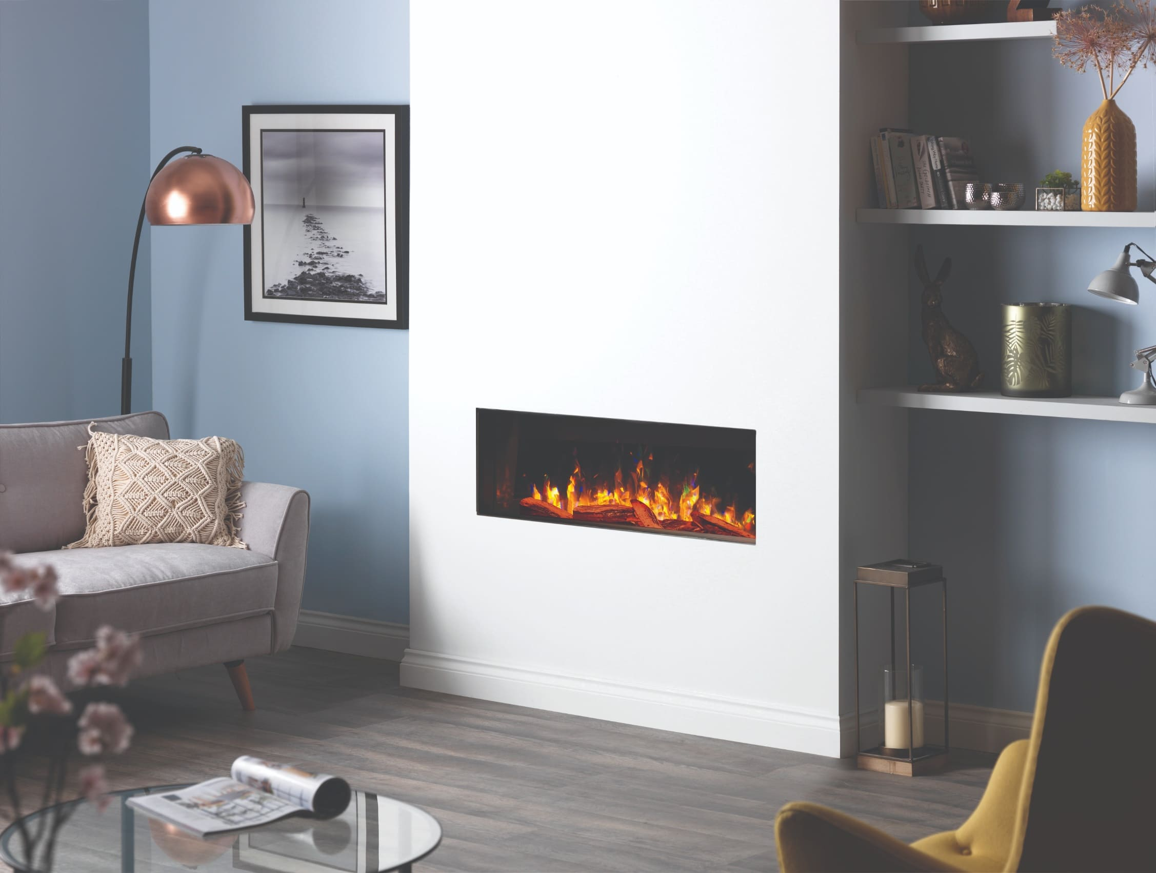 SLE100 Deep Hole in the Wall Electric Fire Front Facing Log Burner Effect