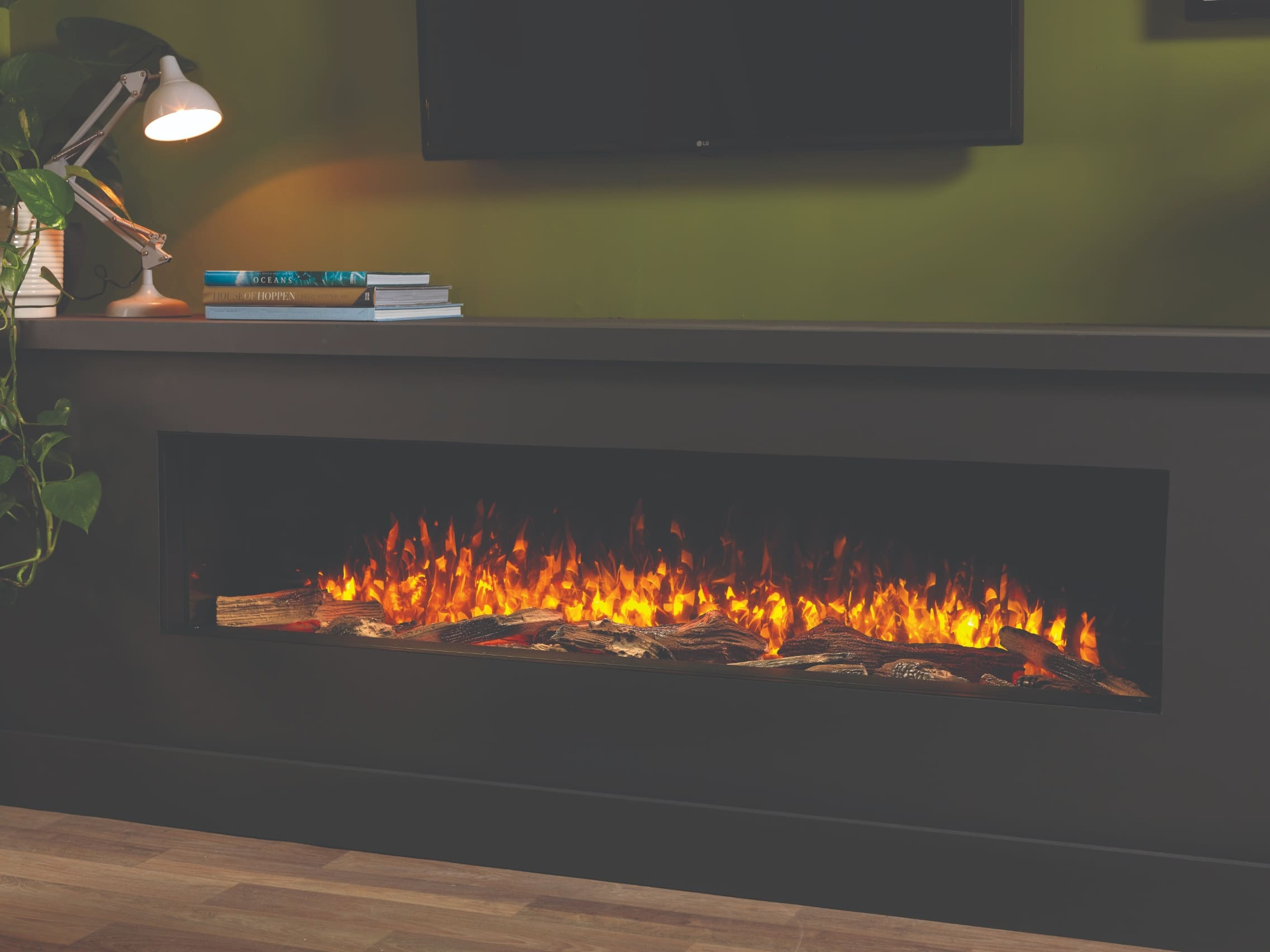 SLE150 Hole in the Wall Electric Fire Wood Burner Effect 1.5 Metres