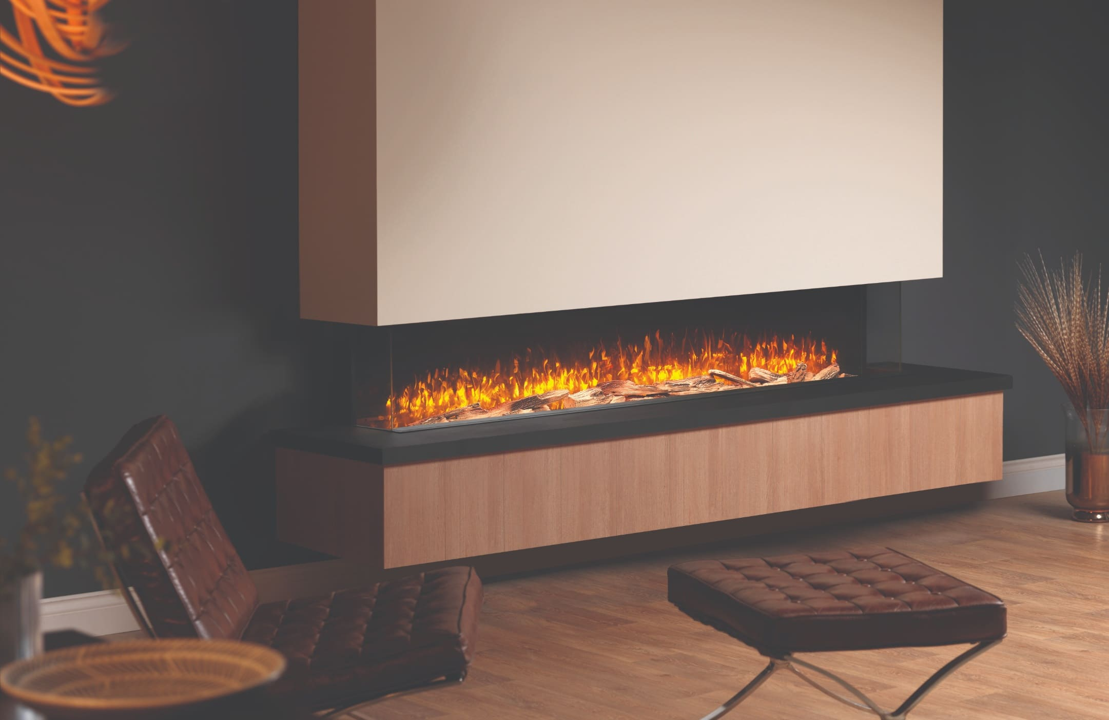 SLE200 Panoramic 2-Metre Electric Fire Hole in the Wall Electric Media Wall