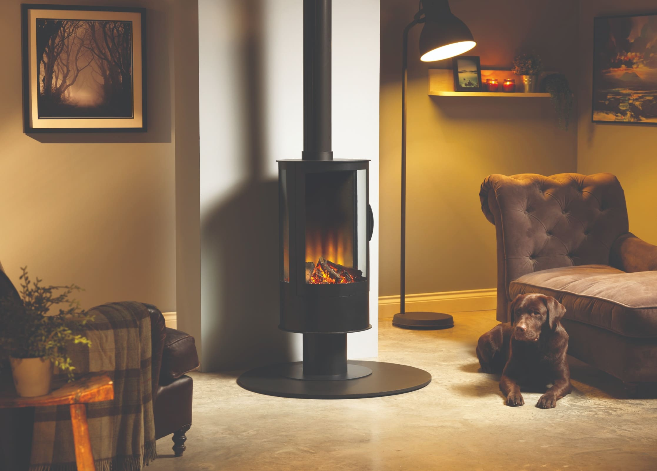 SLE42s Electric Rounded Cylinder Three-Sided Stove, Wood Burner Effect