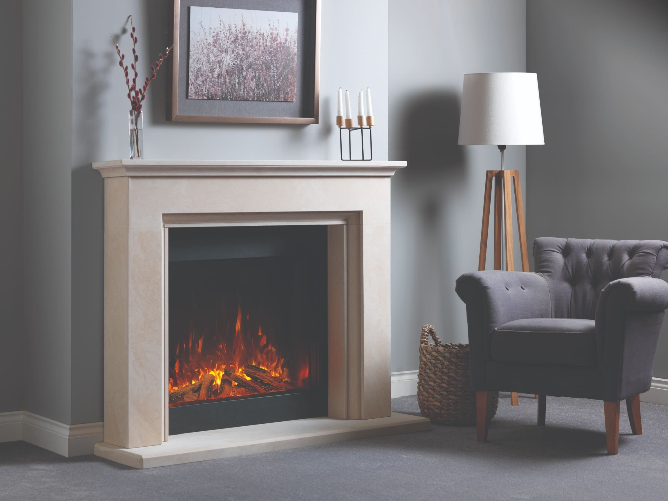 SLE75 Front Facing, Single-Sided Deep Electric Fire