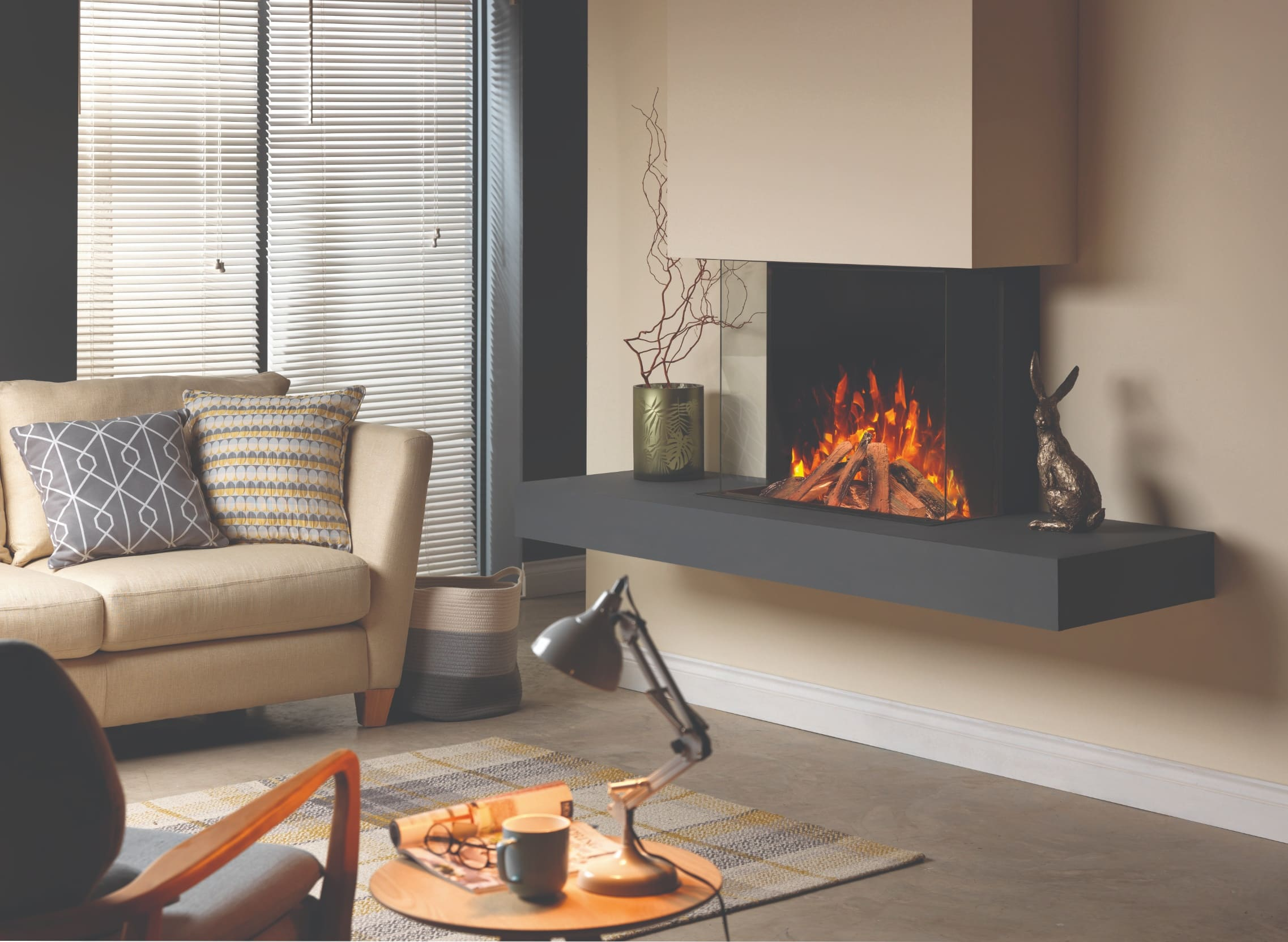SLE75 Panoramic Three-Sided Electric Fire, Wood Fire Effect